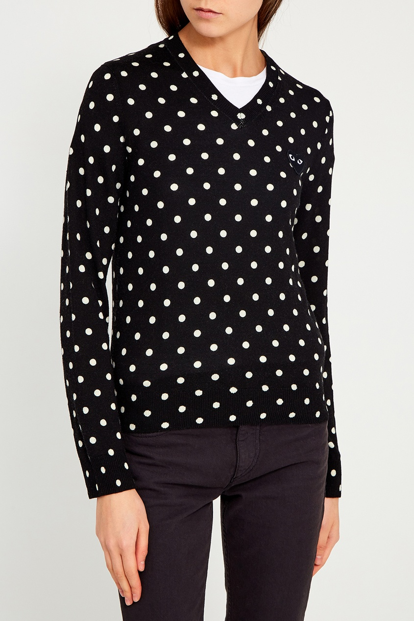 Шерстяной пуловер в горох черный