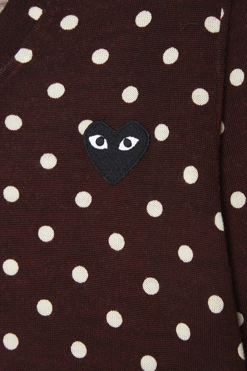 Шерстяной пуловер в горох бордовый
