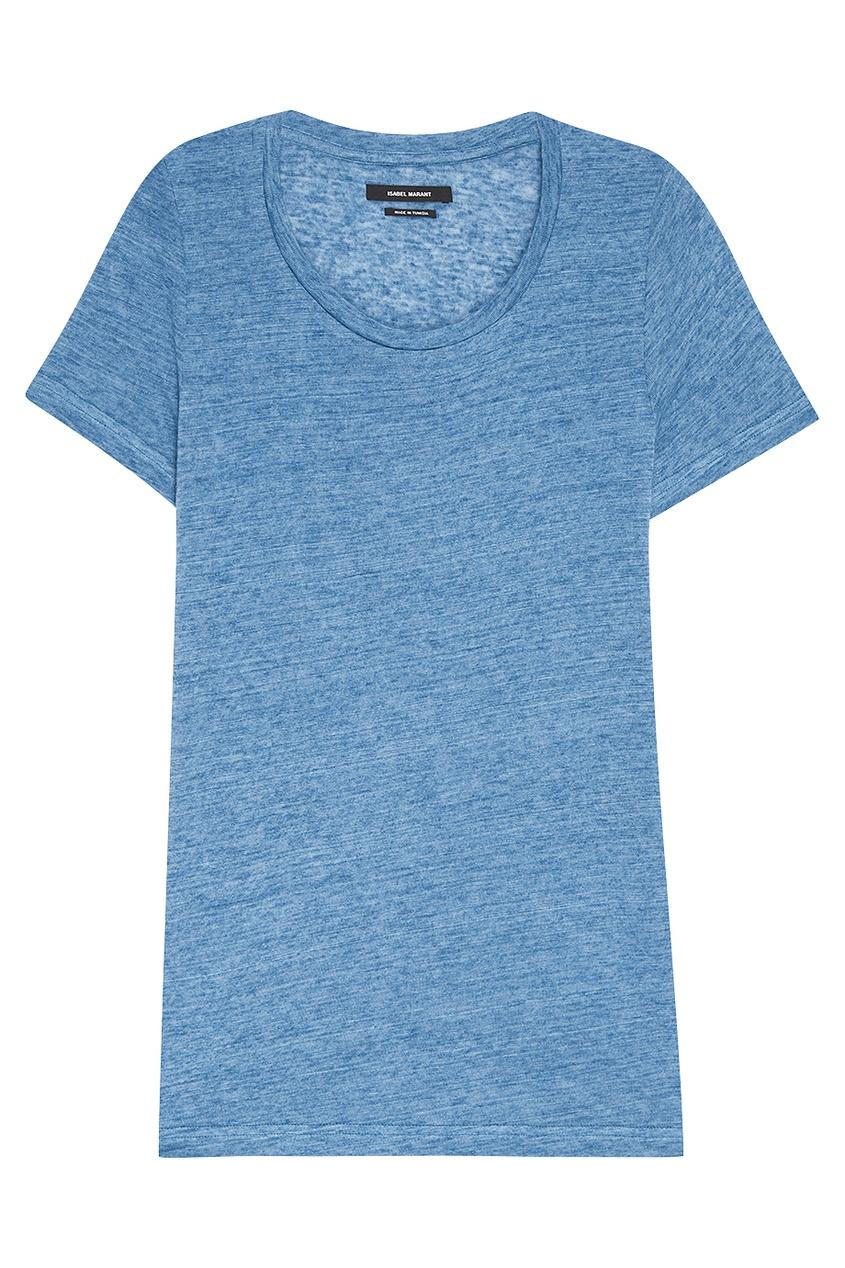 Isabel Marant Льняная футболка голубого цвета лонгслив голубого цвета brums ут 00008817