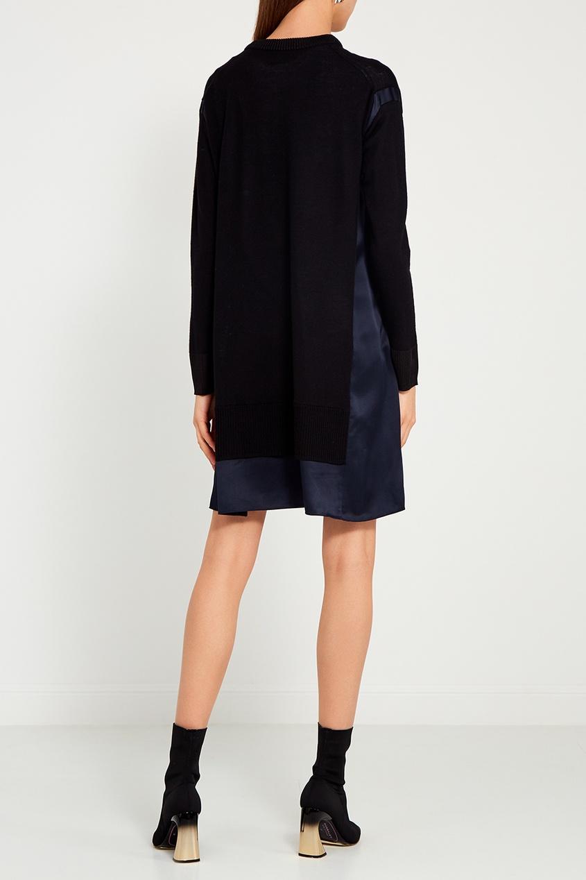 Комбинированное платье из шелка