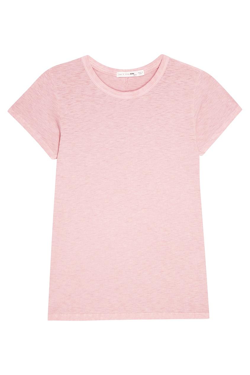 Rag&Bone Розовая хлопковая футболка msgm розовая хлопковая футболка
