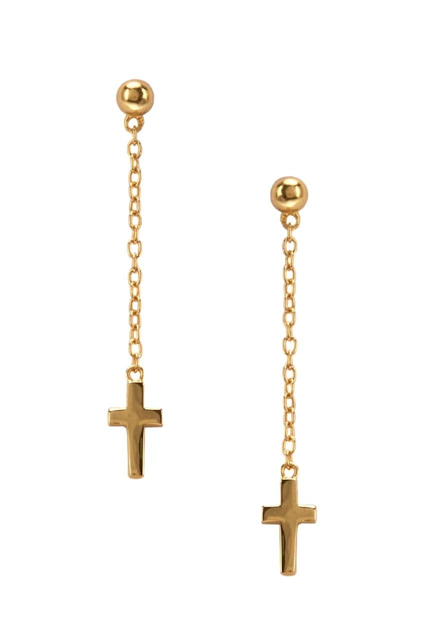 Exclaim Серьги серебряные с подвесками-крестами серьги с подвесками эстет серебряные серьги с куб циркониями и пластиком est01с2510678 10z