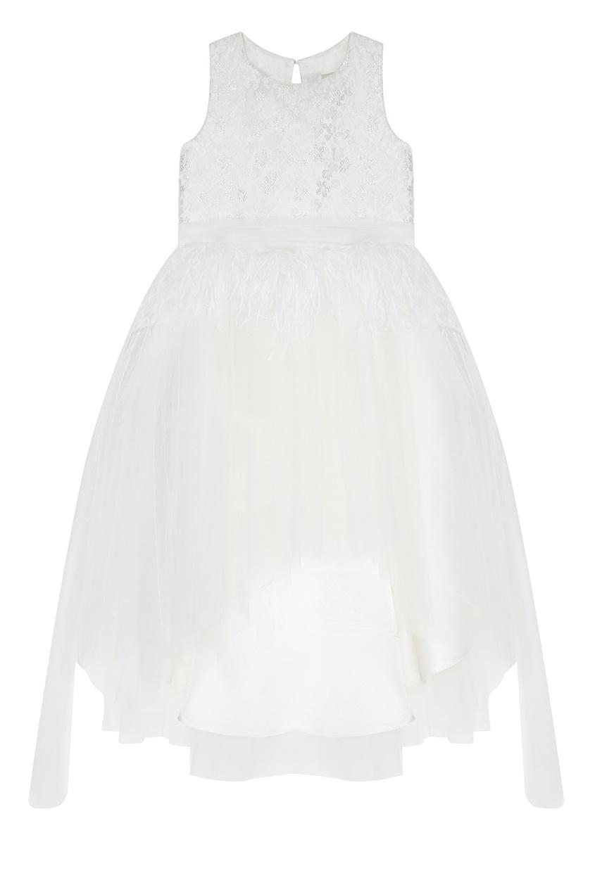 Белое платье с перьями Princess Swan