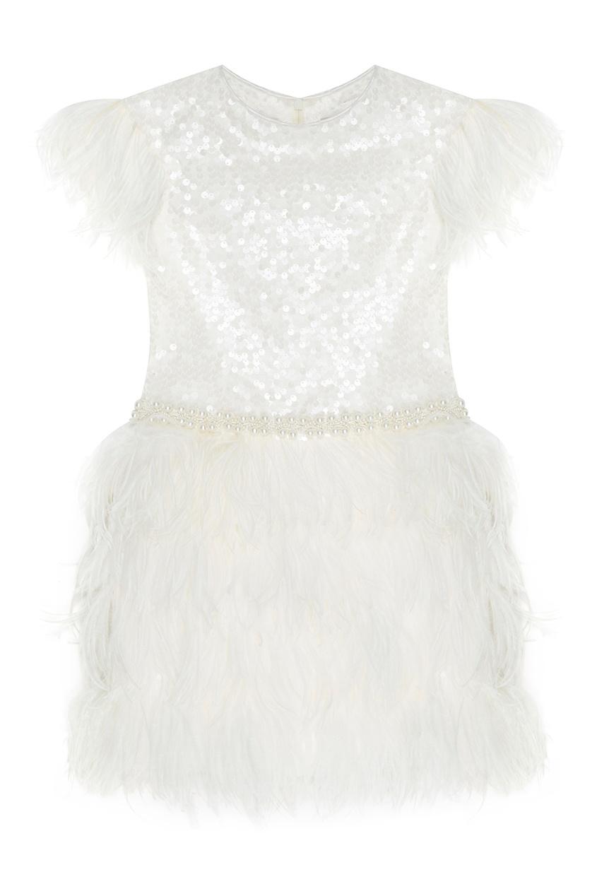 Белое платье с перьями White Princess