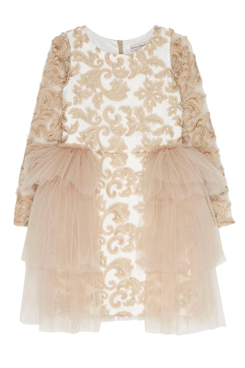 Бежевое платье с вышивкой Amanda