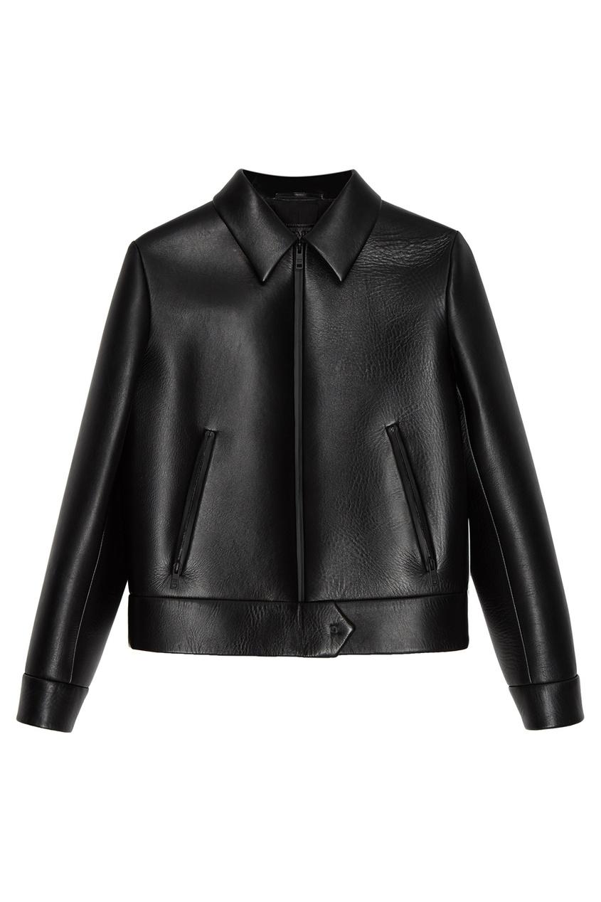 Prada Черная кожаная куртка prada утепленная куртка на молнии