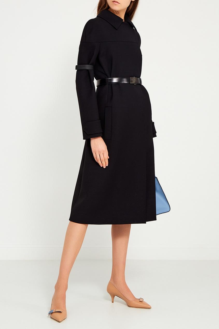 Prada Шерстяное пальто с поясом пальто двухцветное с поясом 70% шерсти
