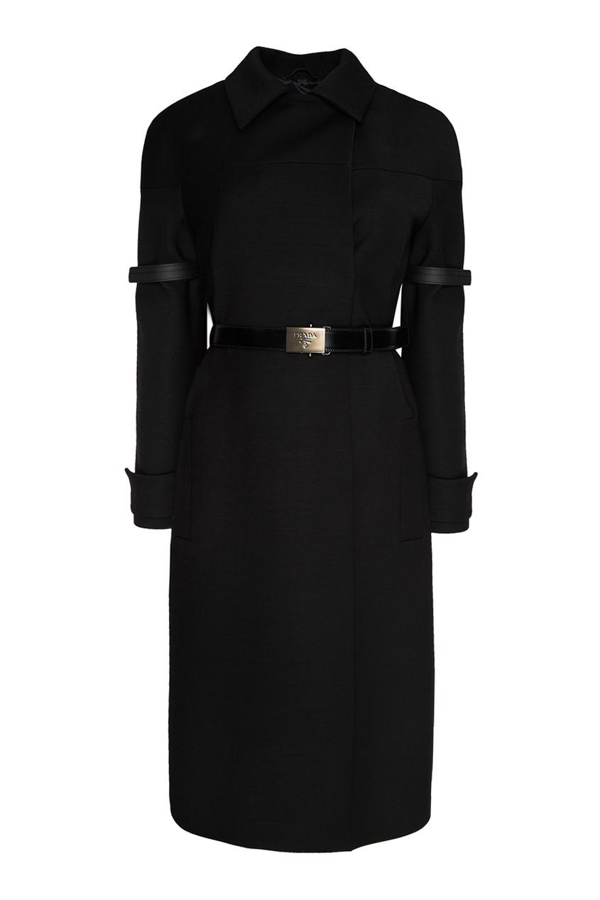 Prada Шерстяное пальто с поясом
