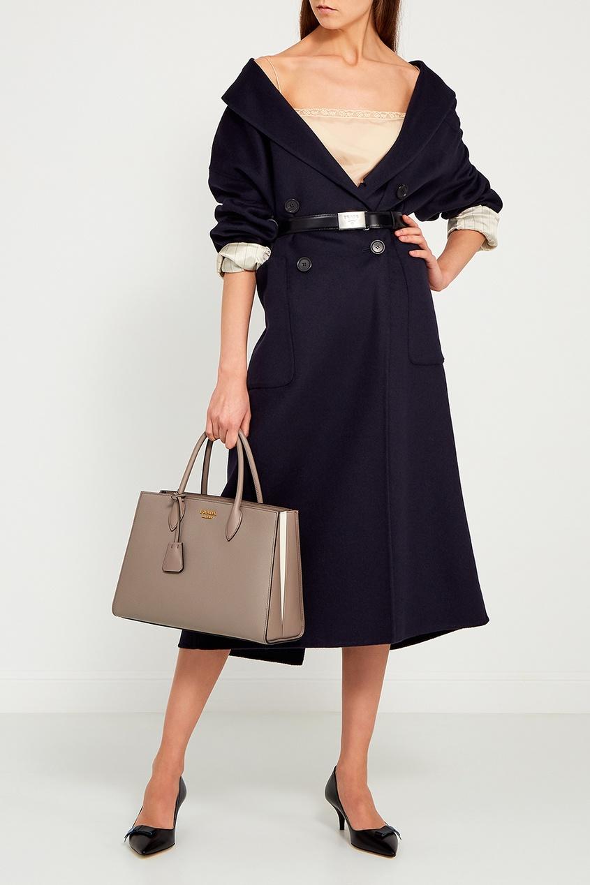 Prada Шерстяное двубортное пальто ли лу двубортное шерстяное пальто