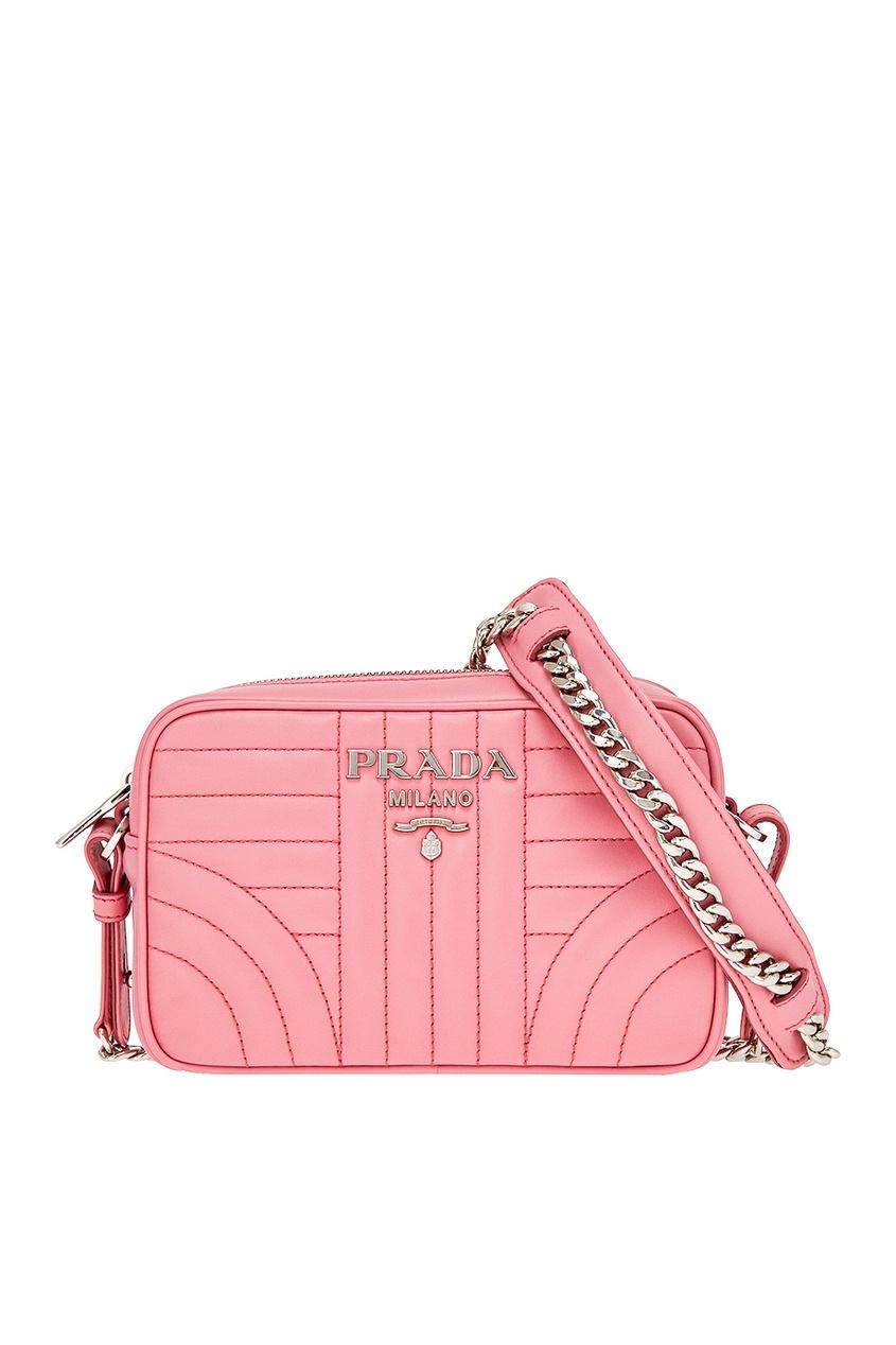 Prada Розовая кожаная сумка Diagramme prada красная стеганая сумка diagramme