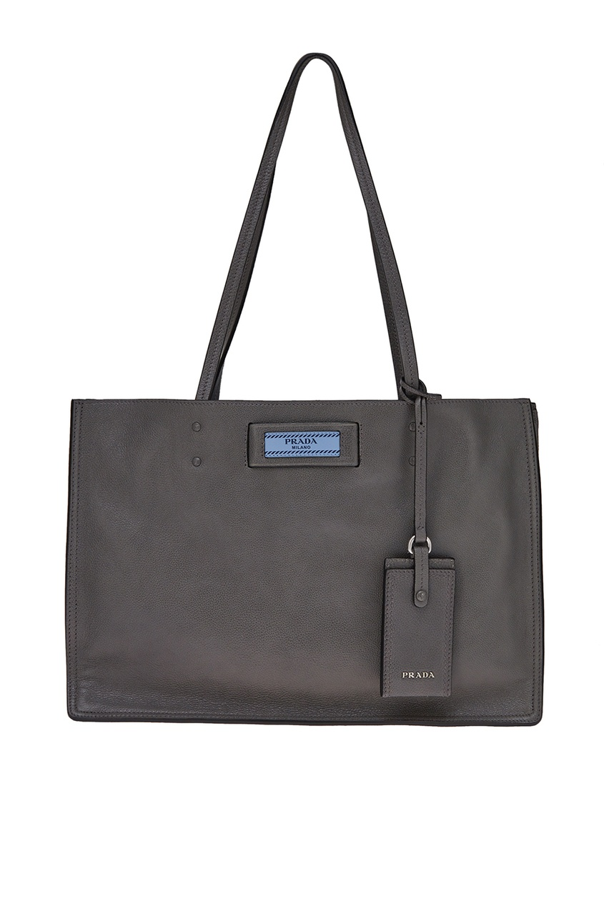 Prada Серая кожаная сумка Etiquette marimann повседневная кожаная темно серая сумочка с брошью бабочкой от бренда marimann