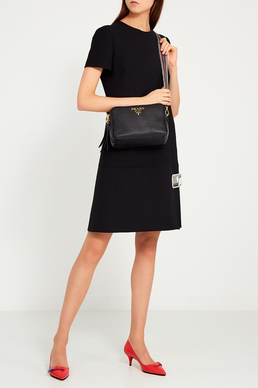 Prada Черная кожаная сумка prada сумка от prada 100203
