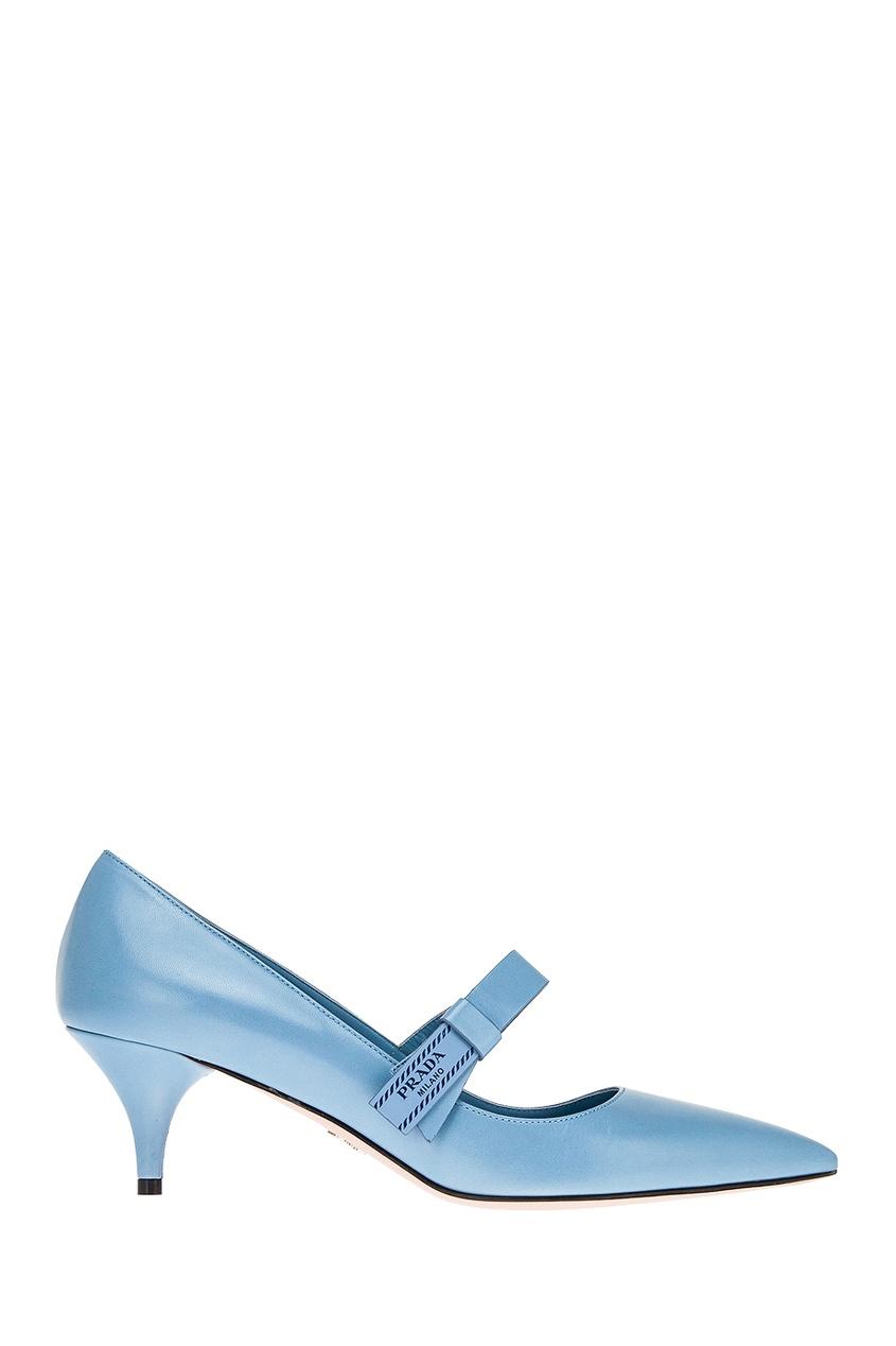 Голубые кожаные туфли с логотипом PRADA