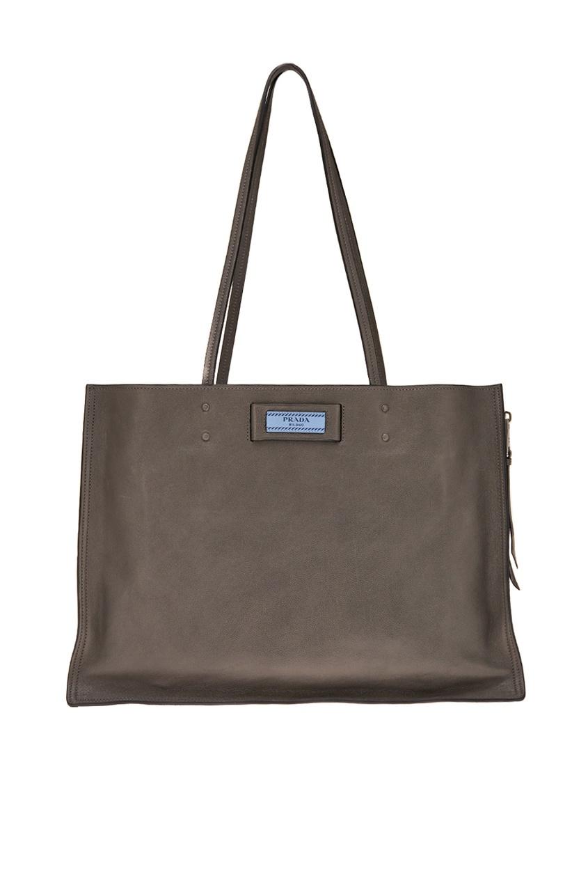 Prada Серая кожаная сумка Etiquette