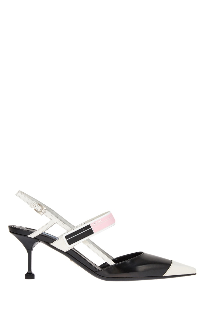 Контрастные туфли с логотипом PRADA