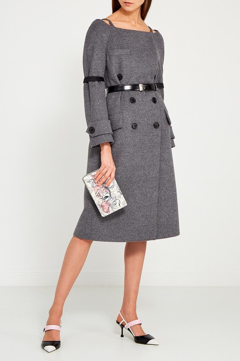 Prada Серое пальто с открытыми плечами prada черное пальто с открытыми плечами