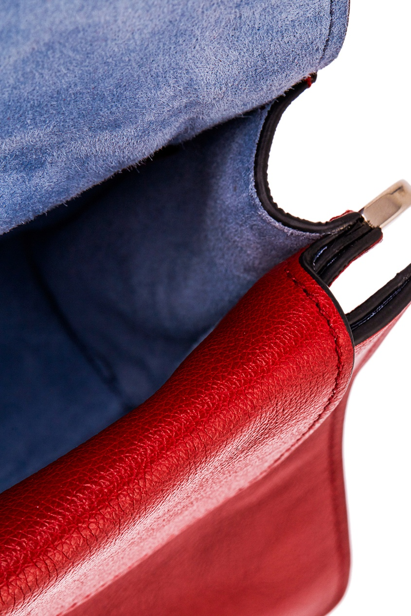 Prada Красная кожаная сумка Etiquette prada сумка от prada 100203