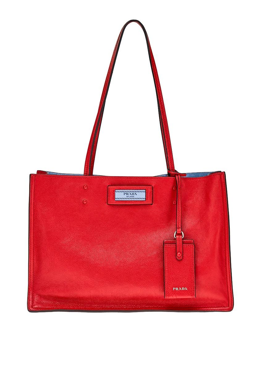 Prada Красная сумка из кожи Etiquette prada красная стеганая сумка diagramme
