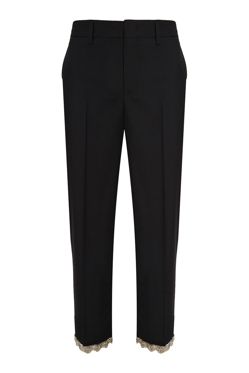 Шерстяные брюки с серебристой отделкой