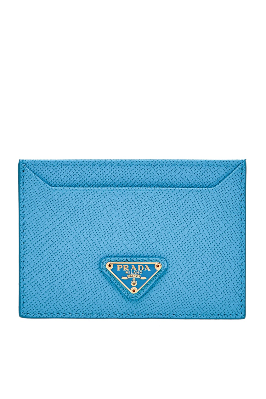 Prada Голубой кожаный футляр для карт футляр для бумаги магазин