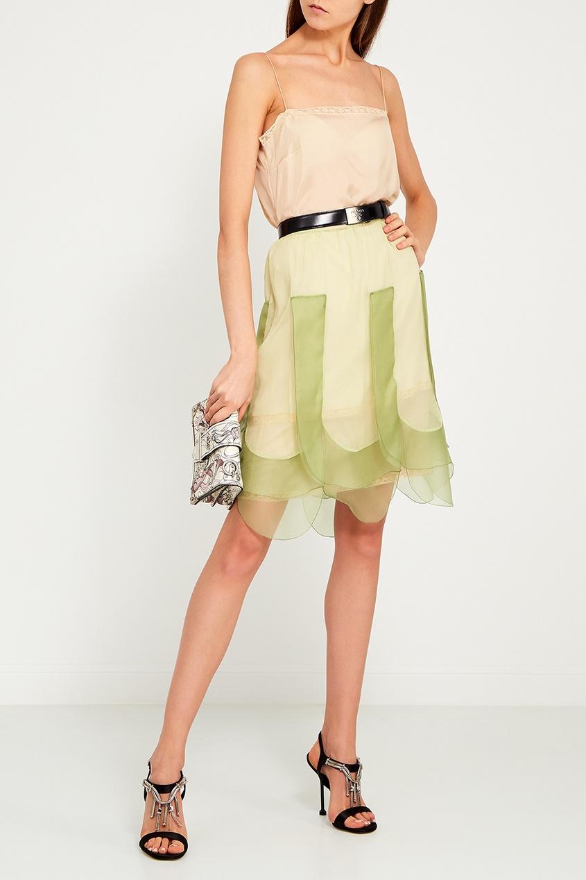 Бежевое платье-комбинация от Prada