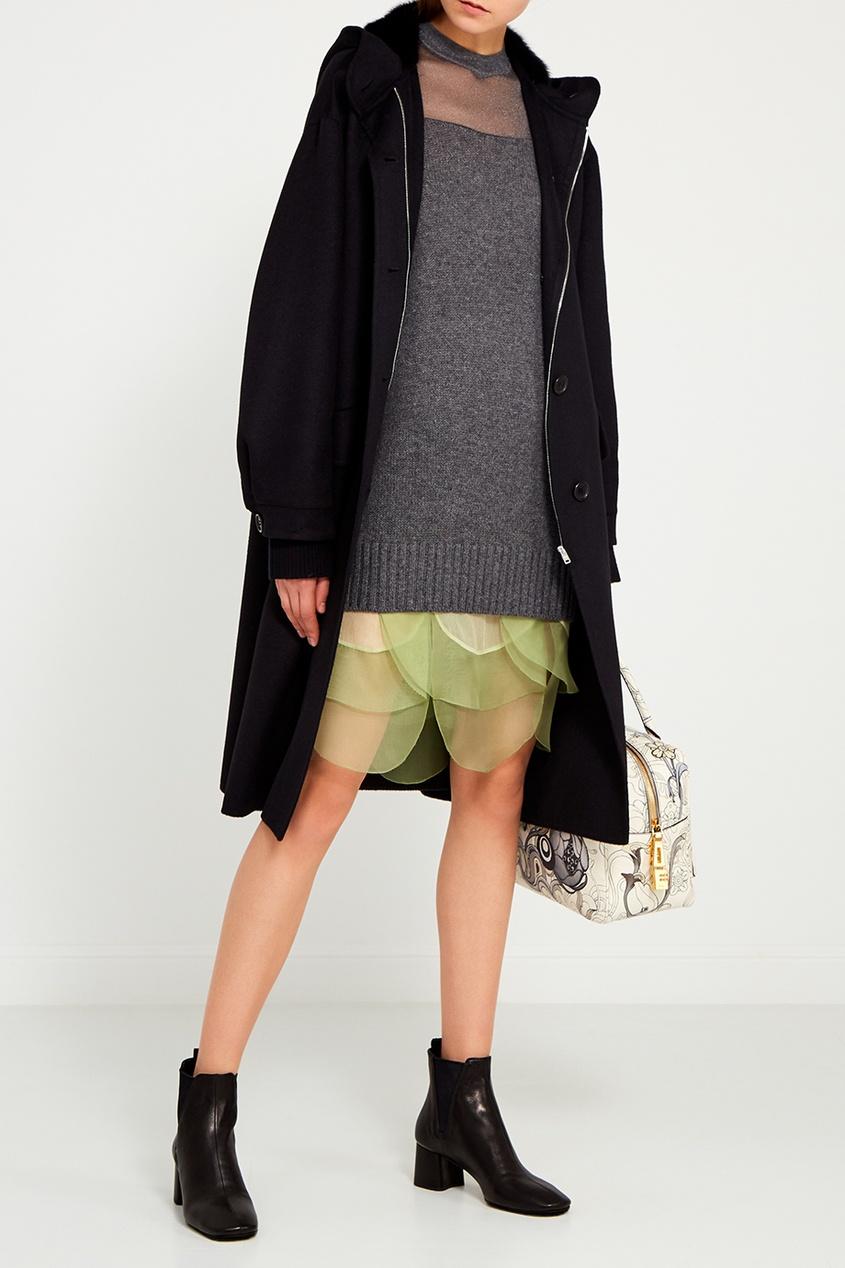 Prada Черное пальто с меховой отделкой пальто твидовое с рукавами ¾ с узором шеврон
