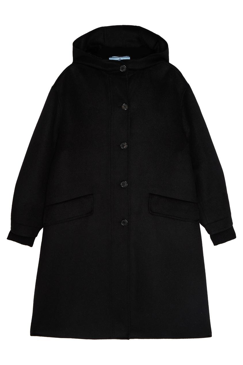 Prada Черное пальто с меховой отделкой