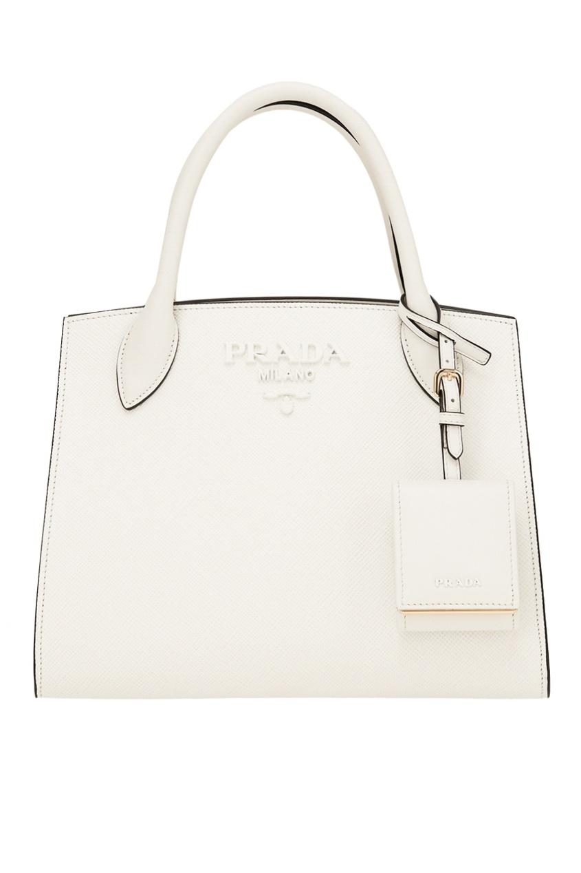 Белая кожаная сумка Monochrome