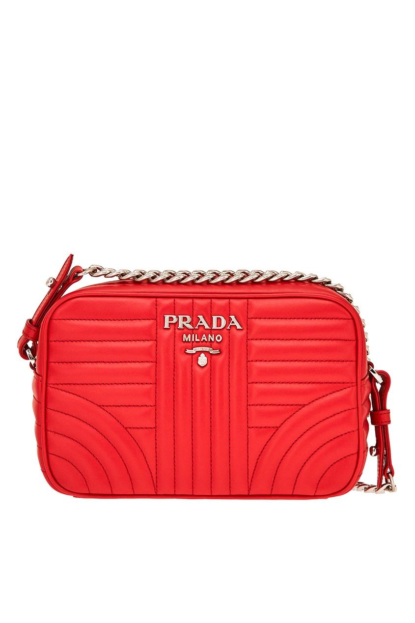 Prada Красная кожаная сумка Diagramme prada красная стеганая сумка diagramme