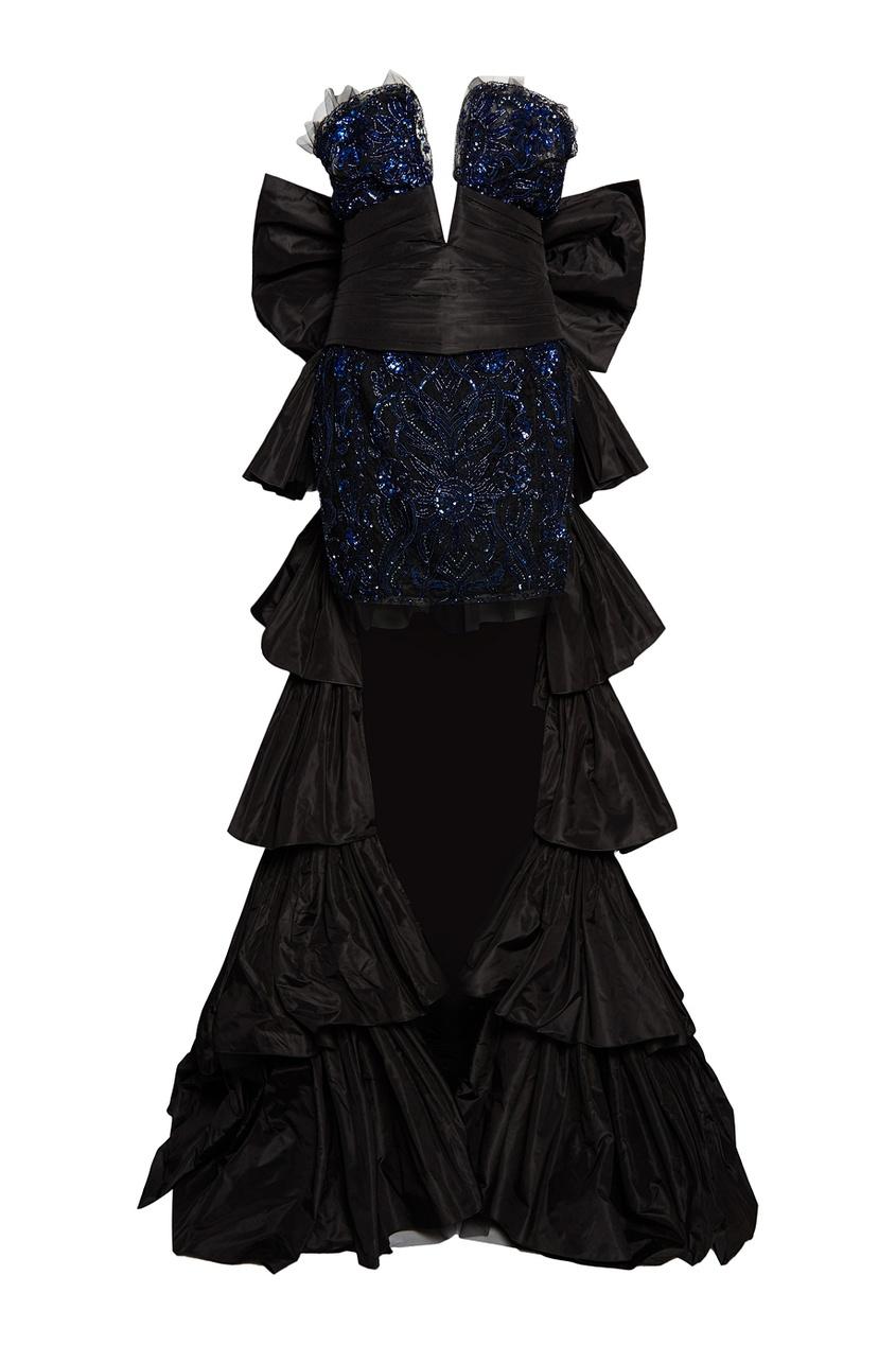 Dundas Комбинированное платье со шлейфом dundas комбинированное платье со шлейфом
