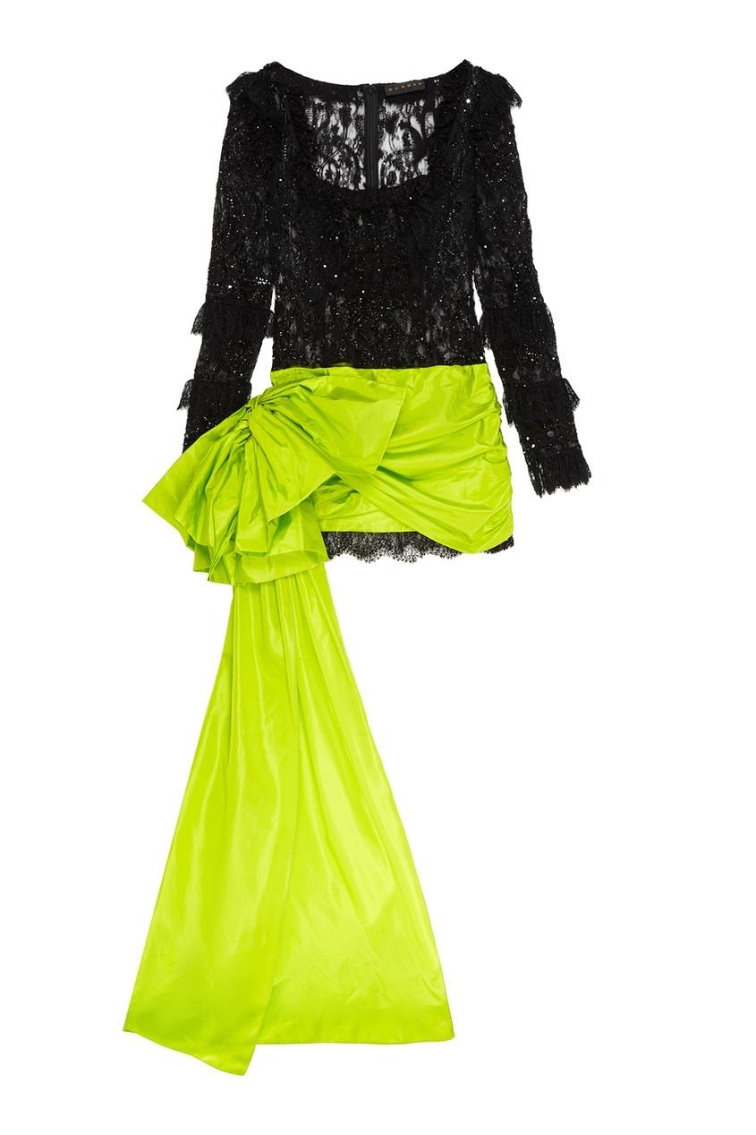 Dundas Комбинированное платье-мини со шлейфом dundas комбинированное платье со шлейфом