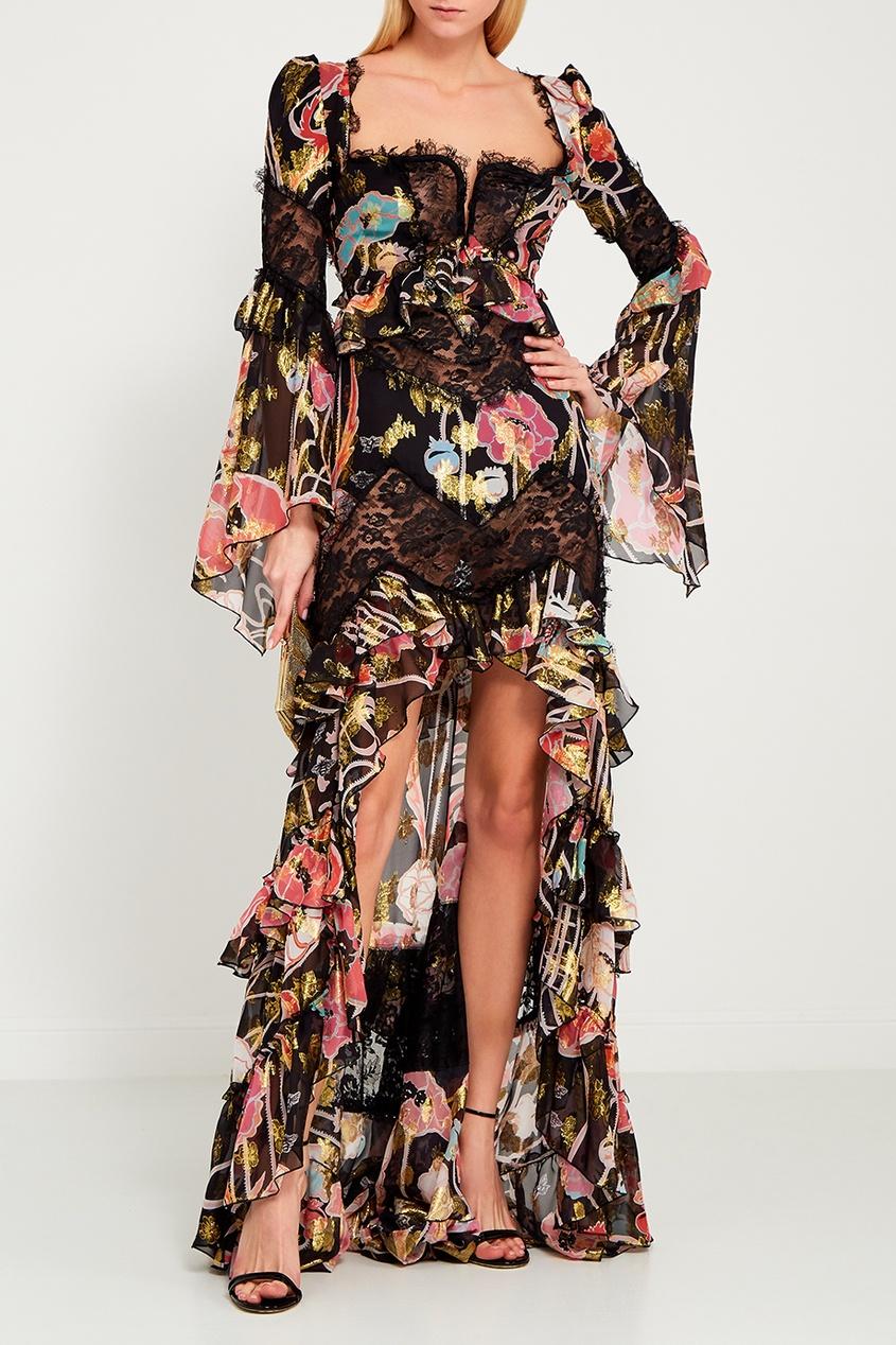 Dundas Шелковое платье-макси с цветами dundas комбинированное платье со шлейфом
