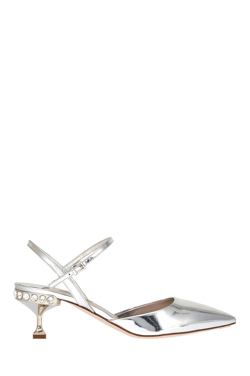 Miu Miu Серебристые туфли с кристаллами цена