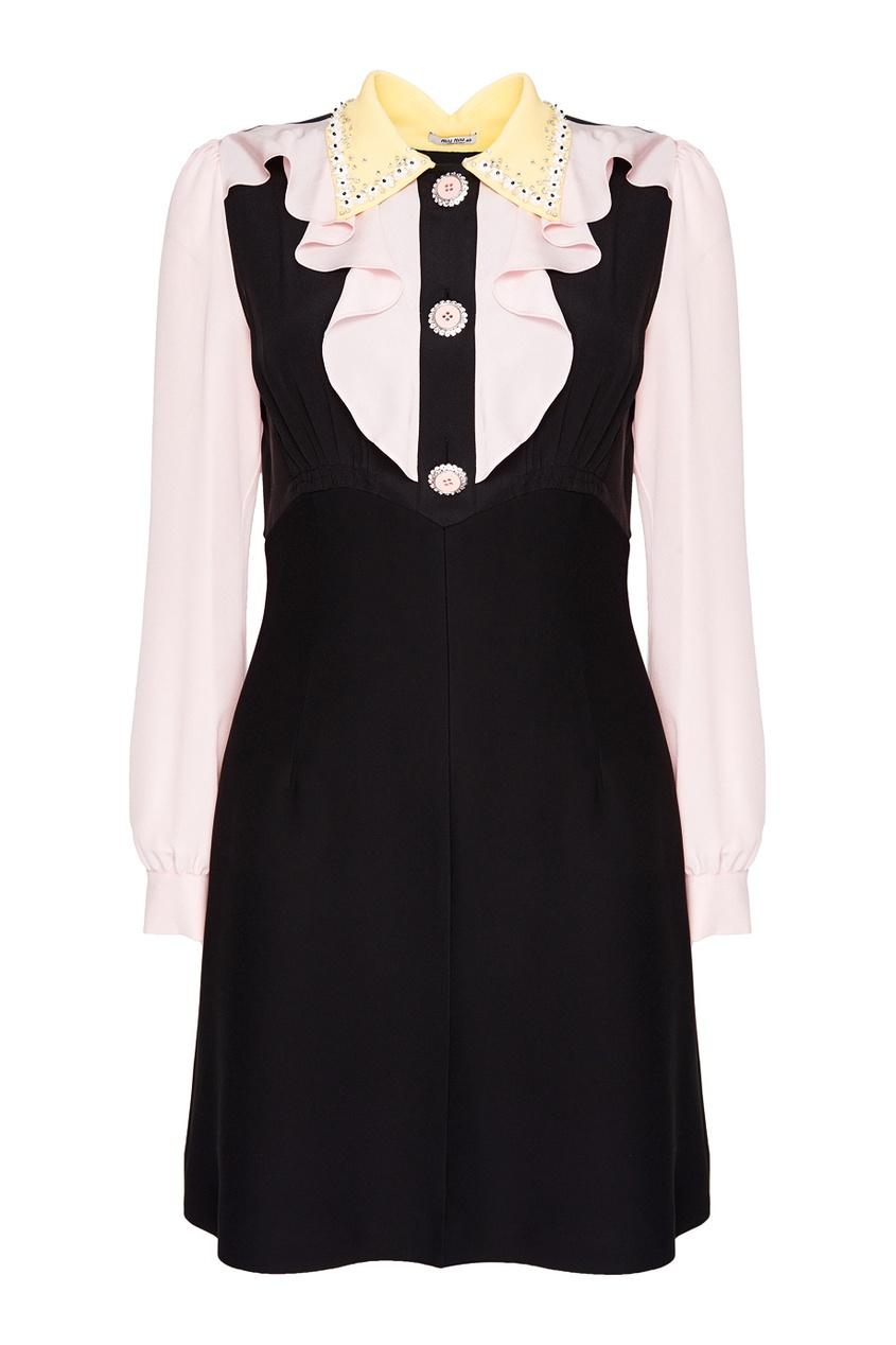 Miu Miu Комбинированное платье с оборками miu miu платье от miu miu 71748