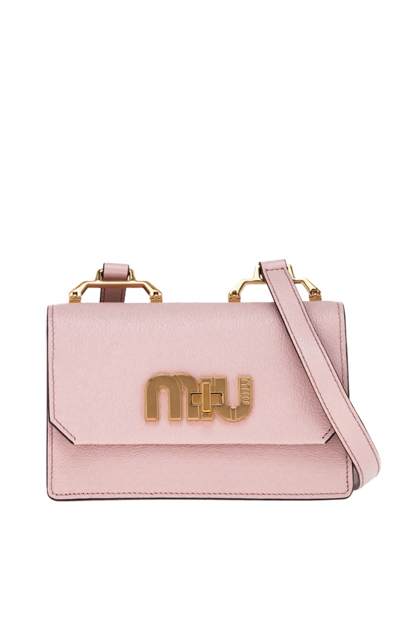 Розовая сумка с логотипом Miu Logo Miu Miu