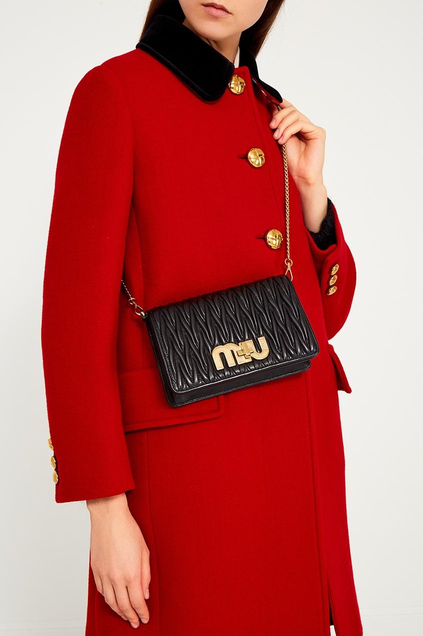 Miu Miu Драпированная сумка из кожи Miu Logo miu miu рубашка из денима