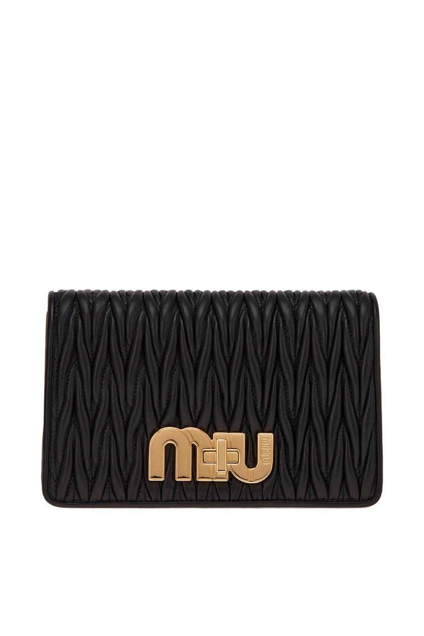 Драпированная сумка из кожи Miu Logo Miu Miu