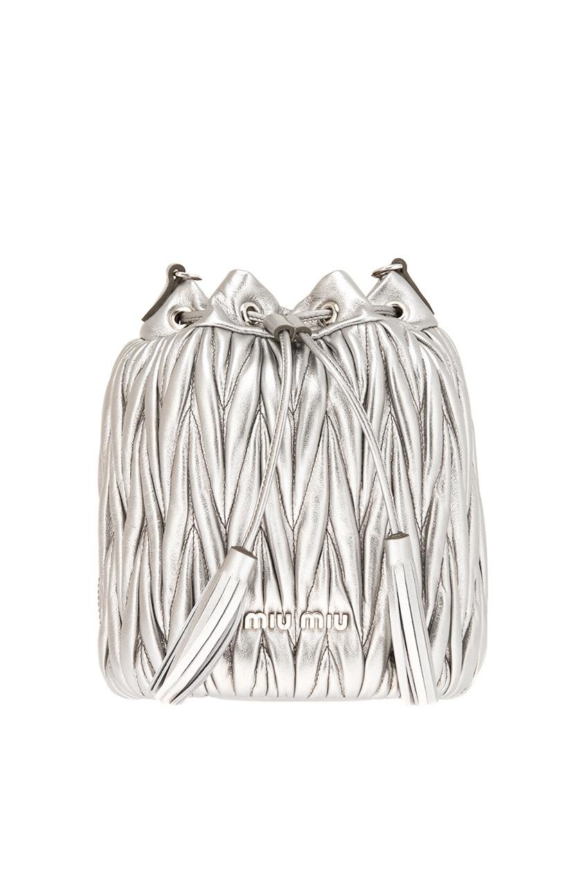 женская сумка miu miu, серебряная