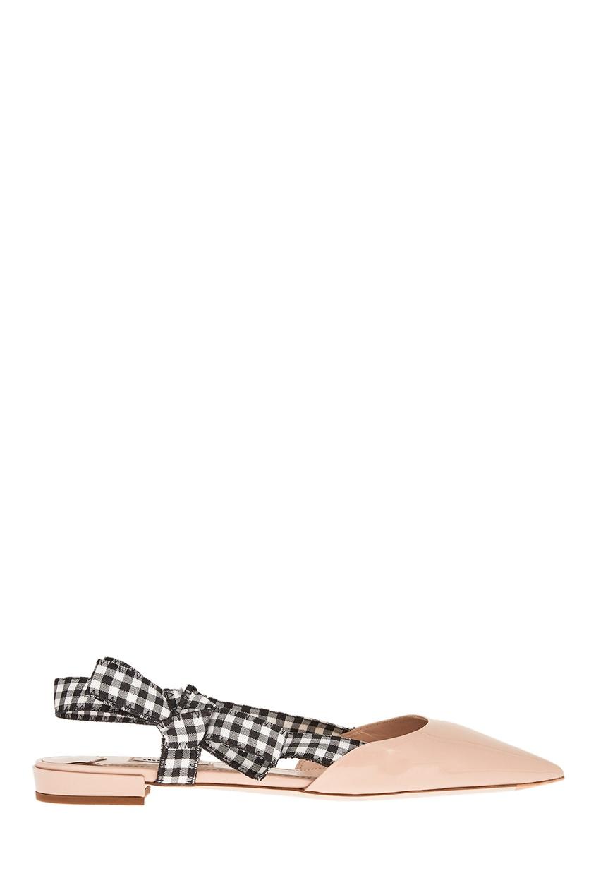 Бежевые лакированные туфли с бантами