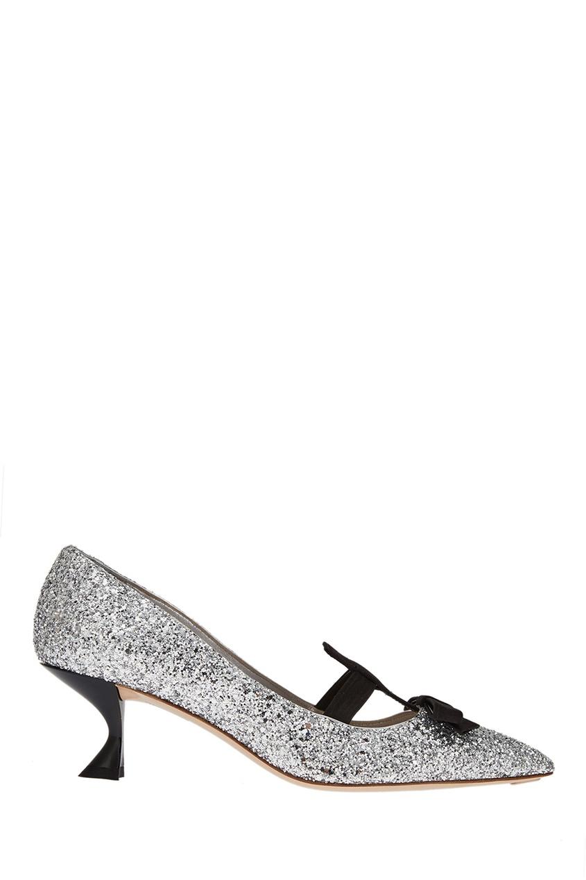 Серебристые туфли с глиттером Miu Miu