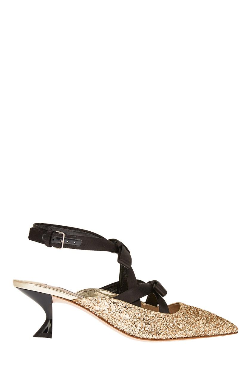 Золотистые туфли с глиттером Miu Miu