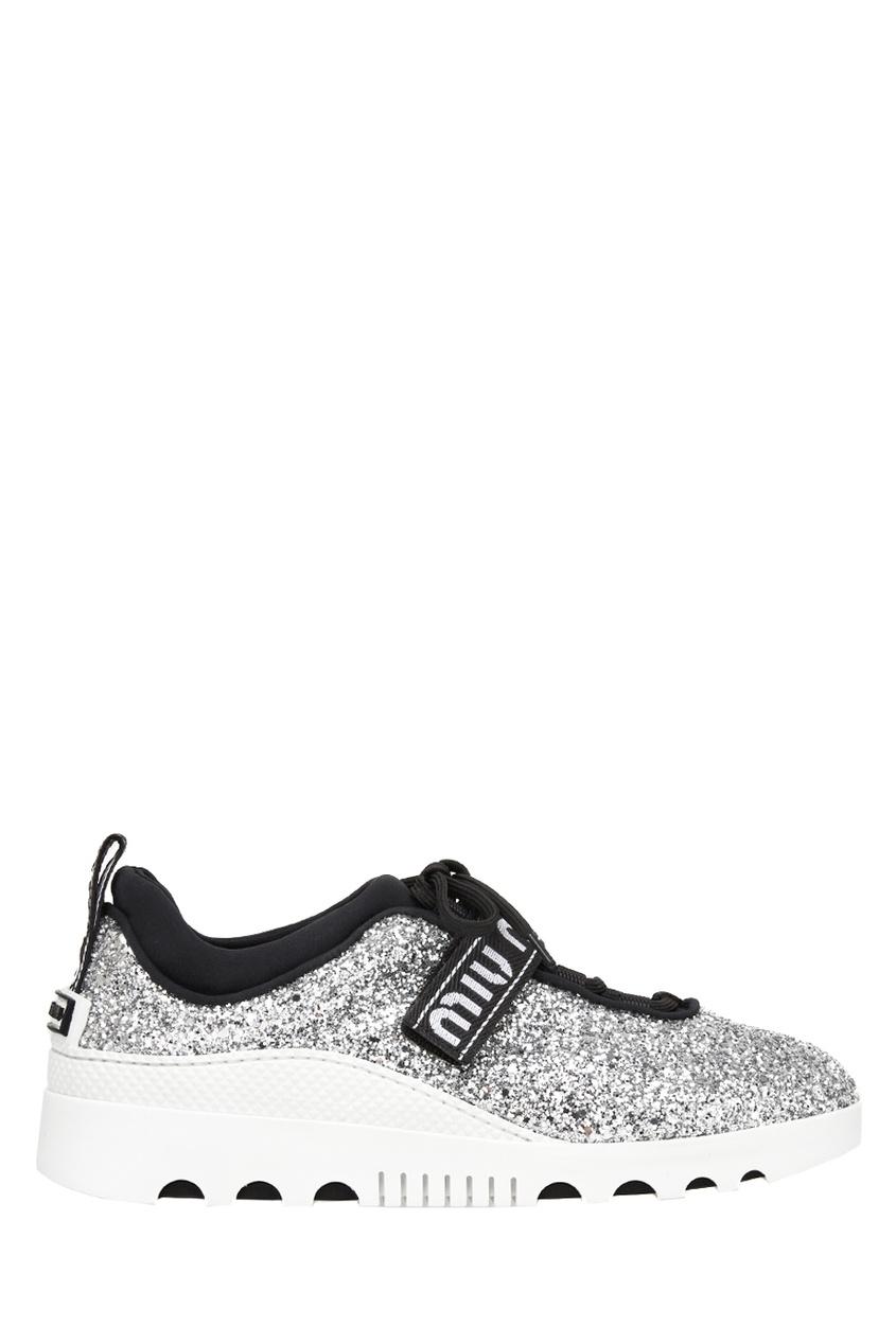 Серебристые кроссовки с глиттером от Miu Miu