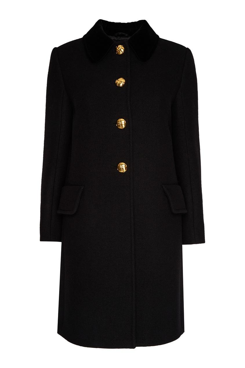 Miu  Черное пальто с золотистыми пуговицами