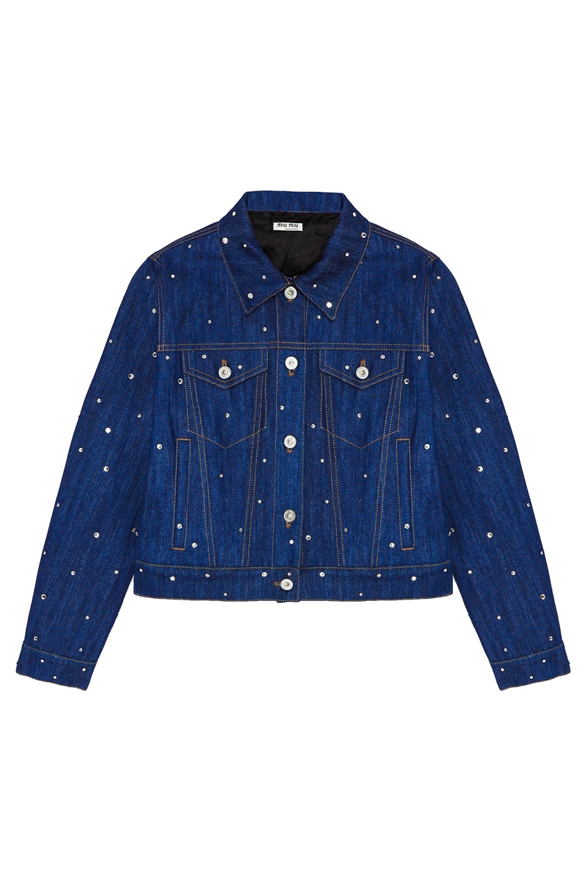 Джинсовая куртка с кристаллами от Miu Miu