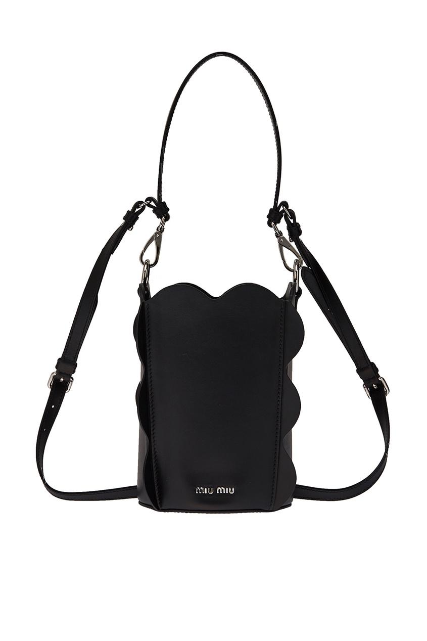 Черная кожаная сумка Bucket Bag Miu Miu