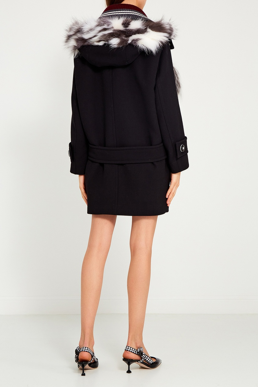 Miu Miu Шерстяное пальто с карманами пальто из шерстяного драпа 70