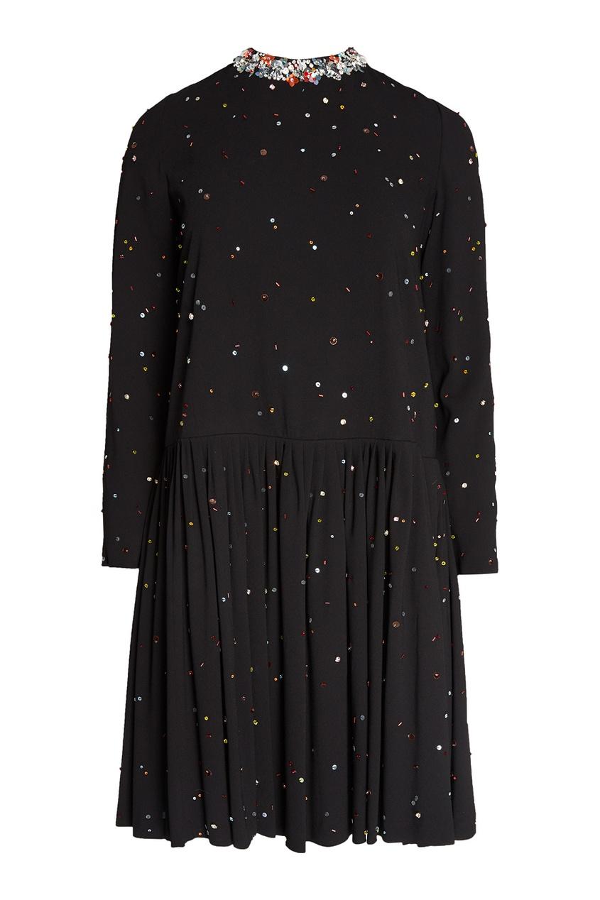 Miu Miu Платье с разноцветными кристаллами miu miu бархатное платье