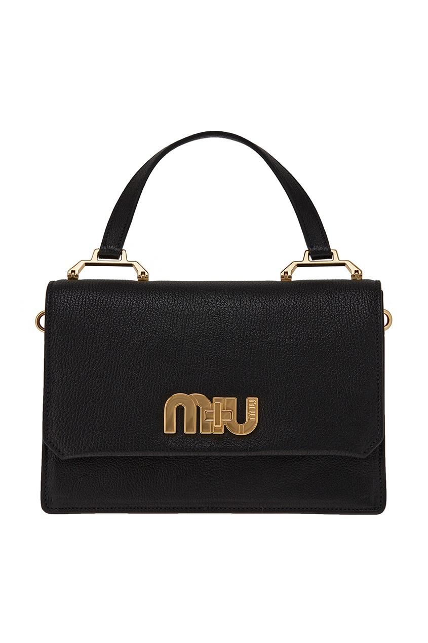 Черная сумка с логотипом Miu Logo Miu Miu