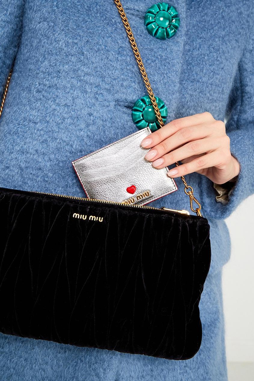 Miu Miu Серебристый футляр для карт футляр для карт с карманами