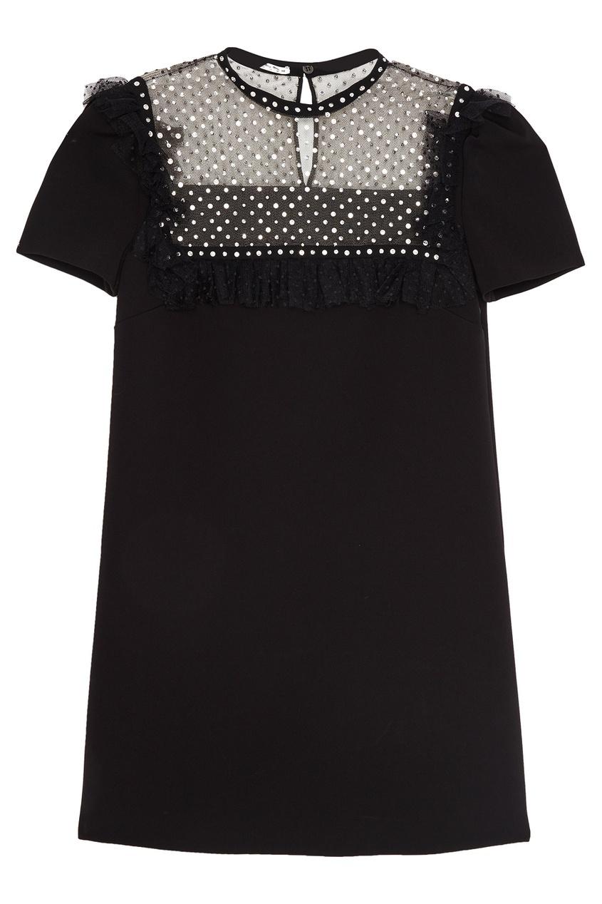 Miu Miu Платье-мини с кристаллами